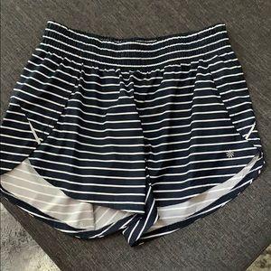 Athleta Navy & White Striped Shorts